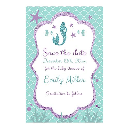 30 Save The Date Mermaid Birthday Baby Shower Teal Purple Personalized Photo Paper -