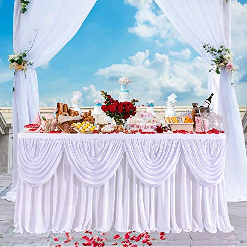 LOYALHEARTDY19 24 Ft 29 Inch Wedding Sign in Tablecloth Ivory,Ice Silk Fabric Table Skirt Cover for Wedding Banquet Event Party Decoration New White Tablecloth Pleated Style (Ice Silk) Decor Sale from LOYALHEARTDY19