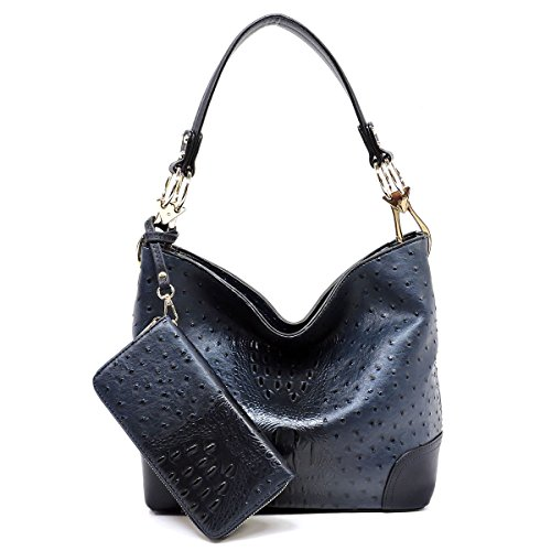 2 PC Set Ostrich Croco Embossed Vegan Faux Leather Hobo Shoulder Bag Classic Bucket Purse with Matching Wallet -