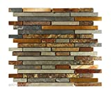 USA Premium Store 10SF Rustic Copper Linear Natural Slate Blend Mosaic Tile Kitchen Backsplash Spa