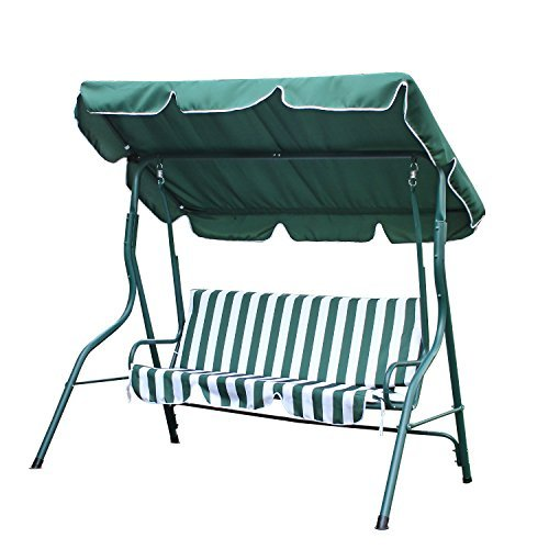 ELEGAN 2 Person Patio Swing Outdoor Canopy Awning Yard Furniture Hammock Steel (Green)
