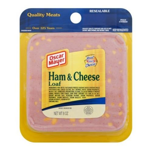 - Oscar Mayer Sliced Ham and Cheese Loaf, 8 Ounce -- 9 per case.