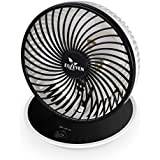 Table Fan Euleven 6030 personal USB Fan,7inches ,Enhanced Airflow with low noise ,2 speeds ,Brushless motor,perfect for home & office table, Black