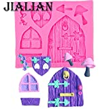 Star-Trade-Inc - Fairy tale cottage Wood window door Love Flowers mushroom silicone mold DIY Cake Decorating Tools cooking baking mould T0513