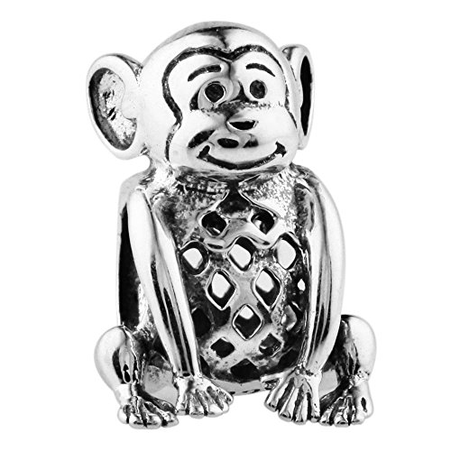 Sterling Silver Monkey Charm - 925 Sterling Silver Charms for Bracelets (Monkey)