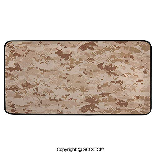 Rectangular Area Rug Super Soft Living Room Bedroom Carpet Rectangle Mat, Black Edging, Washable,Camo,US Marine Desert Marpat Texture Background in Brown Colors,Brown,39