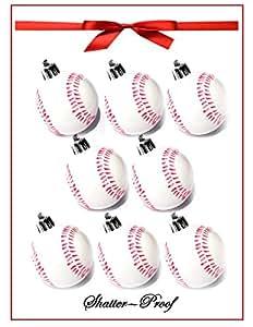 2016 Baseball-Softball Christmas Holiday Sport Ornaments with Hangers - (8-Pack/Shatterproof)