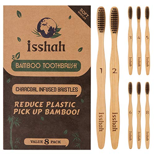 Isshah Biodegradable Organic Charcoal Infused BPA Free Bristles Natural Bamboo Toothbrush, Pack of 8 (Soft Bristles)
