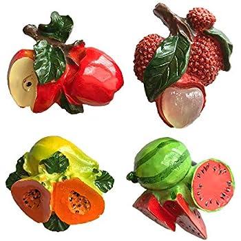 3D Fruits Apple Lychee Papaya Watermelon Refrigerator Fridge Magnet Tourist Souvenirs Handmade Resin Craft Magnetic Stickers Home Kitchen Decoration Travel Gift(4 Pcs)