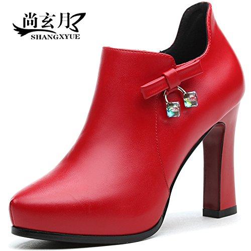 GTVERNH-Mit Der Rauen Spitze Schuhe Schuhe Schuhe Frühjahr Schuhe Wasserdicht Hohe 10Cm Alle Treffer Beruf Tiefe Leder Schuhe Export 422300