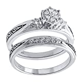 Sterling Silver 1/6cttw Diamond Engagement and Wedding Ring Set