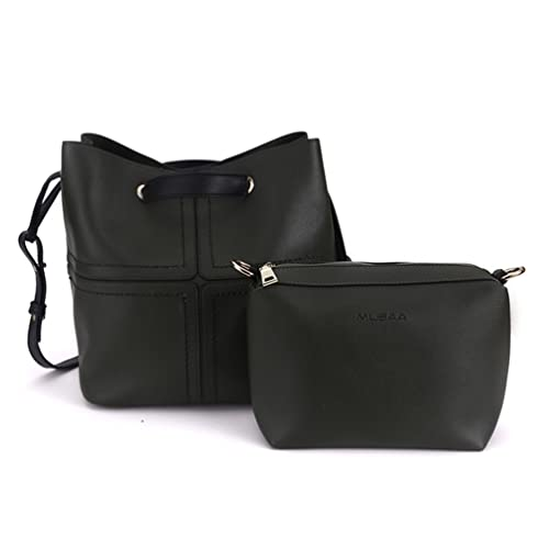 649ab745236e Amazon.com  MUSAA Set Of 2 Leather Drawstring Bucket Shoulder Bag Elegant Cross-Body  Handbags With Wallet Purses For Women(Black)  Shoes