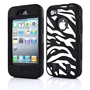 JJE 2 in 1 Zabra Robot Style PC and Sillcone Composite Case for iPhone 4/4S(Assorted Colors) , Black