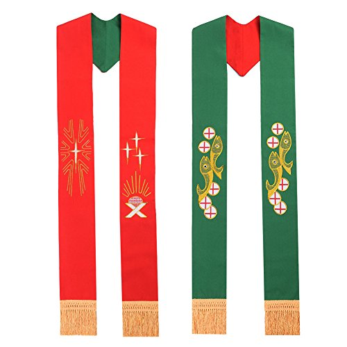 BLESSUME Green & Red Reversible Stole
