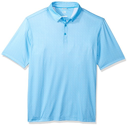 Cutter & Buck Men's Moisture Wicking Drytec UPF 50+ Print Jersey Polo Shirt, Poolside Westward, Small