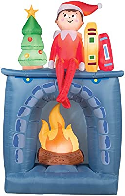 UHC Airblown Inflatable Elf on Shelf Scout on Fireplace Christmas Decoration