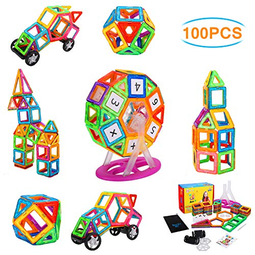 NextX Magnetic Blocks, 100 PCS Magnetic Tiles Building Blocks STEM Educational Building Toy Set