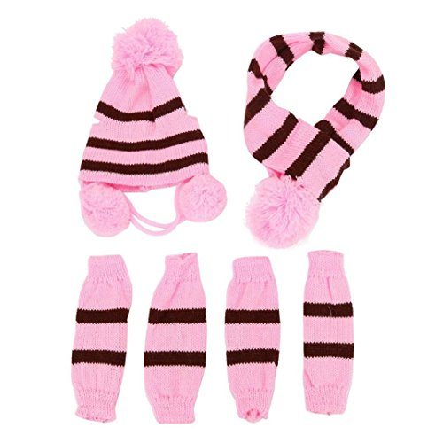 LNGRY 6Pc/Set Dog Pet Puppy Hat Scarf Leg Warmer Pet Clothes (Pink, XS) - http://coolthings.us