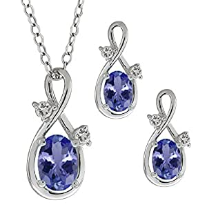 1.73 Ct Oval Natural Blue Tanzanite 925 Sterling Silver Pendant Earrings Set 18""