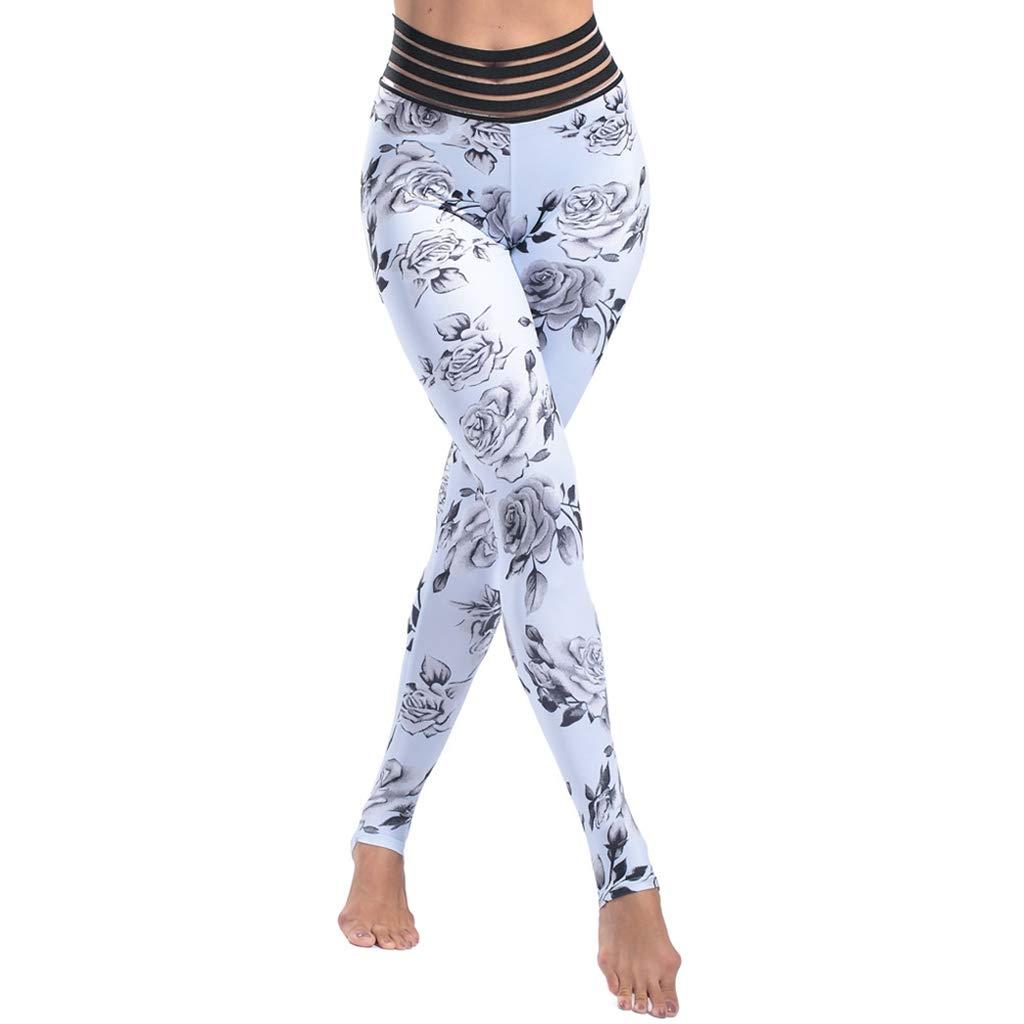 d1247b0723b Amazon.com: Flower Patterned Sport Leggings Athletic Gym Tights ...