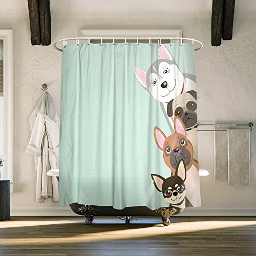 Peekaboo Funny Dogs Cartoon Puppy Fabric Extra Long Shower Curtains For BathroomMildew Free