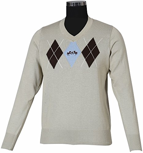 - Equine Couture Ladies Newport Sweater (L, Oatmeal/Chocolate)