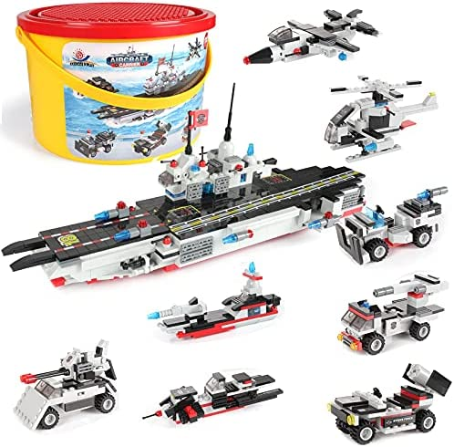 Aircraft Carrier Building Blocks 1630Pcs, Exercise N Play Construction Milary Battleship Warship Toy with Submarine Helicopter Car Truck Aircraft Carrier Escort for Boys Girls 6 7 8 9 10 Years,