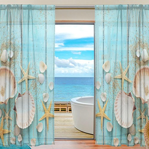 ALAZA Sheer Curtain Summer Beach Seashell Starfish Voile Tulle Window Curtain for Home Kitchen Bedroom Living Room 55x78 inches 2 panels