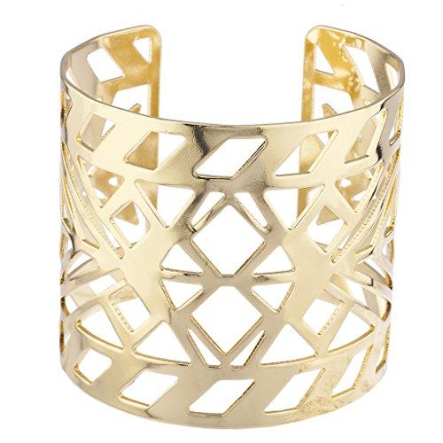 Aztec Bangle - Lux Accessories Gold Tone Aztec Style Geo Cutout Bracelet Cuff