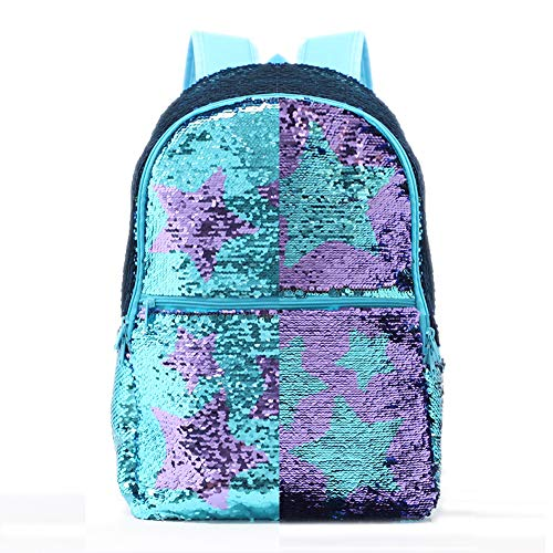 Fashion Sequin Backpack Lightweight Travel College Student Daypack Magic Reveriable Sequence Back Pack (Lake Blue with Star Pattern) -