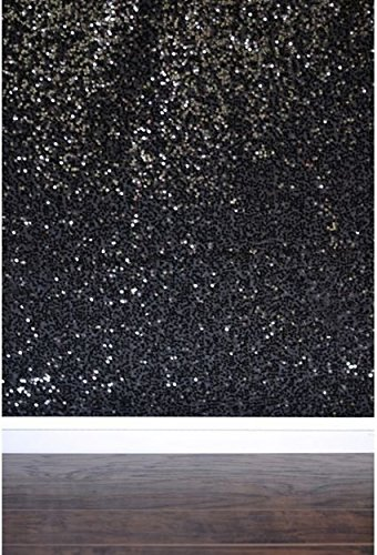 BLACK Sequin Taffeta Fabric Photography Backdrop, Sequin Photo Booth Backdrop, Sequin Drape - MADE IN USA - Select from 3 Sizes. (9ft x 10ft) by Bds (Image #1)