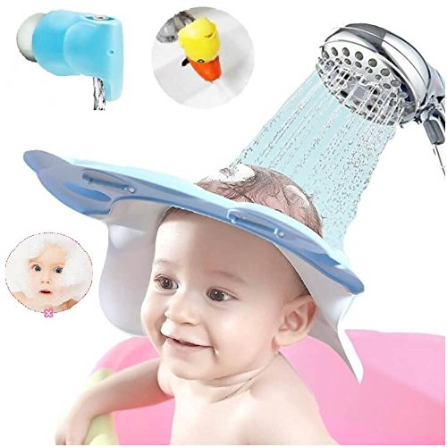 (Bath Time Safety Set - Baby Shower Cap Shampoo Hat Visor Ear Eye Protection Shield for Toddler Kid Child Head Hair Rinser - Tub Guard Spout Cover - Faucet Extender - Leak Proof Adjustable Comfortable)