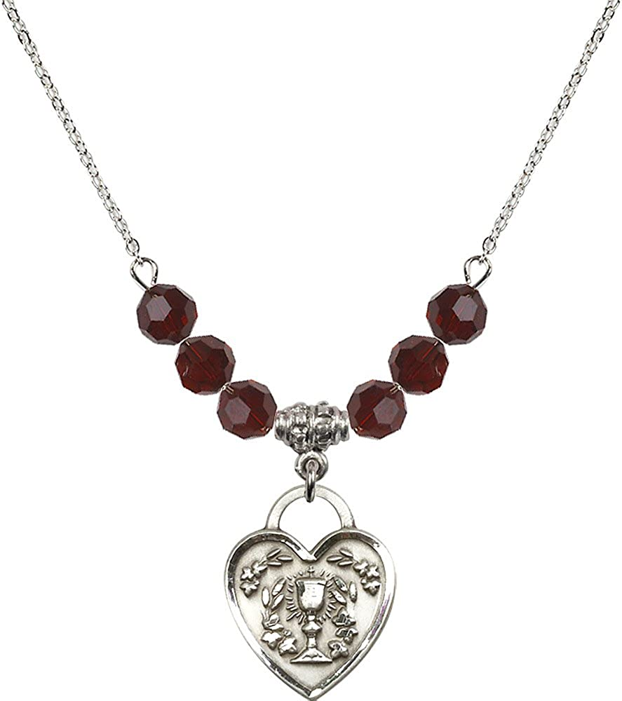 18-Inch Rhodium Plated Necklace with 6mm Garnet Birthstone Beads and Sterling Silver Communion Heart Charm.