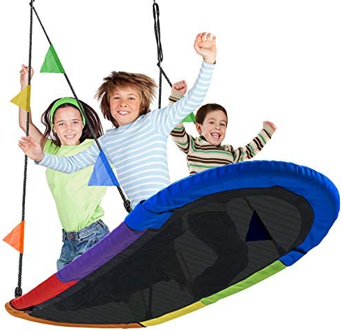 Sorbus Saucer Swing Surf Kids Indoor Outdoor Giant Oval Platform Swing Mat Great for Tree, Swing Set, Backyard, Playground, Playroom Accessories Included Multi-Color Rainbow Oval Surf Swing