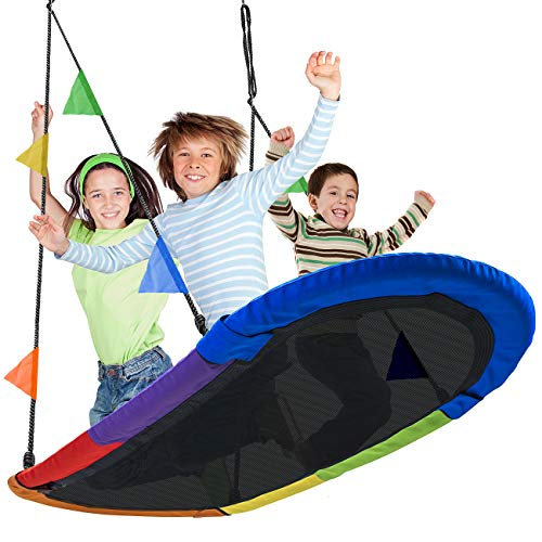 (Sorbus Saucer Swing Surf – Kids Indoor/Outdoor Giant Oval Platform Swing Mat – Great for Tree, Swing Set, Backyard, Playground, Playroom – Accessories Included – Multi-Color Rainbow (Oval Surf Swing))