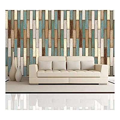 Vertical Retro Earthy Colored Wood Textured Paneling Pattern Wall Mural Removable Wallpaper Quality Artwork Lovely Picture