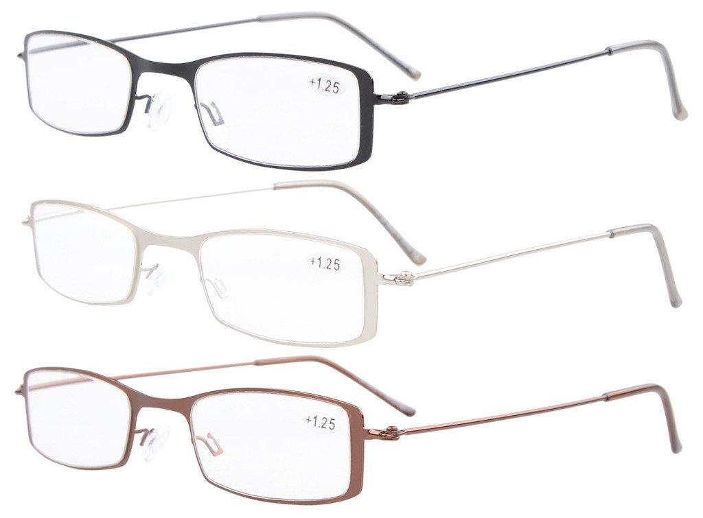 3-Pack in acciaio inox Telaio Half-eye Style Occhiali da lettura Lettori +1.5