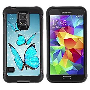 BullDog Case@ Blue Sparkling Butterfly Rugged Hybrid Armor Slim Protection Case Cover Shell For S5 Case , G9006 Cover Case ,Leather for S5 ,S5 Cover Leather Case ,G9006 Leather Case