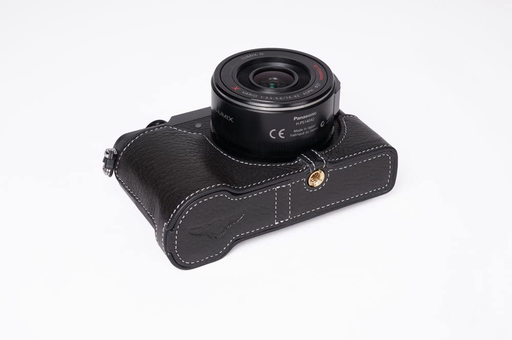 Handmade Genuine Real Leather Half Camera Case Bag Cover for Panasonic GX85 GX80 GX7 II Black Bottom Opening Version