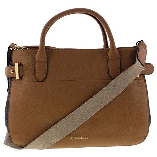 Giani Bernini Womens Leather Signature Satchel Handbag Tan (Giani Bernini Purse)