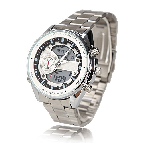 Multifunction Men Sports Analog Digital LCD Dual Time Display Stainless Steel Wrist Watch