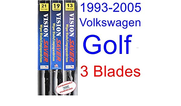 Amazon.com: 1993-2005 Volkswagen Golf Replacement Wiper Blade Set/Kit (Set of 3 Blades) (Saver Automotive Products-Vision Saver) (1994,1995,1996,1997,1998 ...