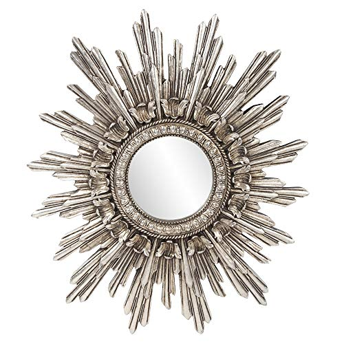 Howard Elliott Chelsea Antique Starburst Hanging Accent Wall Mirror, Antique Silver Resin Frame, 20 x 23 Inch
