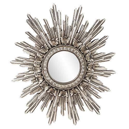 Howard Elliott Chelsea Antique Starburst Mirror, Antique Silver Resin Frame, Accent Piece