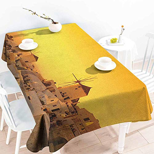 EwaskyOnline Washable Tablecloth,Greece Sunset Oia Village on Santorini Island Mediterranean Summer Vacation,Modern Minimalist,W54x90L, Marigold Ivory and Brown