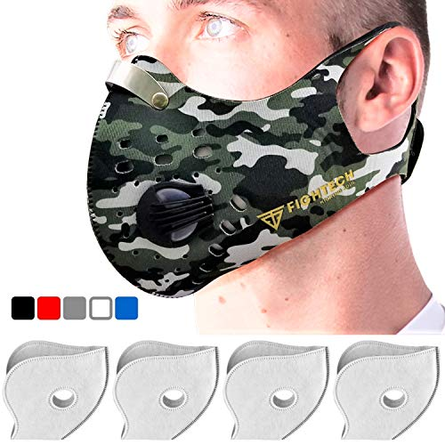 Dust Mask with 2 Valves and 4 Activated Carbon N99 Filters. New Model 2018 by FIGHTECH (Camo)