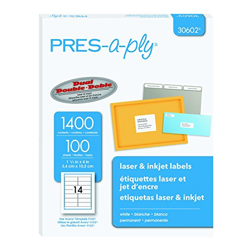 Pres-a-ply Laser Address Labels, 1.33 x 4 Inches, White, Box of 1400 (30602) (Pres Label Address A-ply)