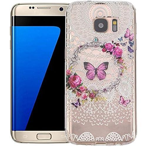 Galaxy S7 Edge Case,LANDFOX Cover For Samsung Galaxy S7 Edge Flower Eiffel Tower TPU Case (#3) Sales