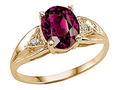 Tommaso Design Oval 9x7 mm Genuine Rhodolite Ring 14 kt Yellow Gold Size 9 14k Yellow Gold Rhodolite Ring