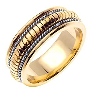 Amazon.com: 14K Two Tone Solid Gold Hand Braided Wedding